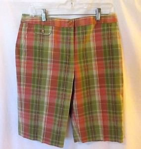 Talbots Madris Plaid Shorts Bermuda Women's Large (12-14) Pink Green