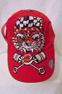 Ed Hardy Trucker Snapback Hat Ball Cap Red Corduroy With Tiger  Rhinestones NWT