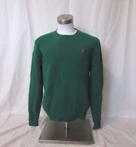 Ralph Lauren Polo Sweater Men's  Large  Crew Neck Pullover Green Pima Cotton