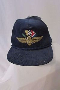 1980's Vintage Indianapolis Motor Speedway Navy Corduroy Snapback Cap NWT