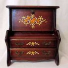 Vintage Tole Painted Wood Jewelry Music Box Lined Miniature Secretary Desk