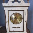 Mantle Clock Wood Antique Style Painted White Brass  Shabby Cottage Chic
