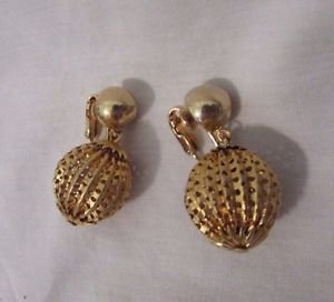 Vintage Clip On Earrings Gold tone Dangle Earrings Filigree Type Round Ball