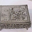 Vintage  Trinket Box Jewelry Casket Repousse Metal  Felt Lined