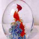 "ART GLASS PAPERWEIGHT LARGE 5"" FISH BUBBLES AQUARIUM MURANO ? VINTAGE"