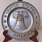 "Vintage Pewter Liberty Bell Plate USA 1972 Sexton 9"" Plate"