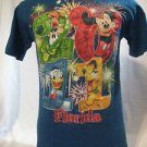 Disney World Adult T-shirt Medium  Mickey, Donald, Pluto, Goofy  Blue