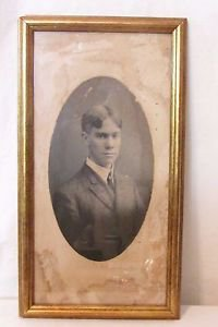 Vintage Picture Framed Photo Handsome Young Man Late 1800 to Early 1900's