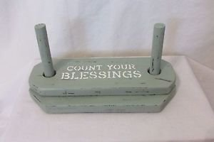 Vintage Wood Napkin Holder Green Hand Stenciled HandPainted COUNT YOUR BLESSINGS