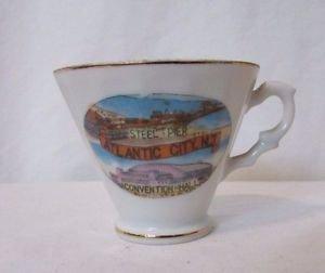 Souvenir Tea Cup Atlantic City New Jersey Steel Pier Convention Hall 1950s