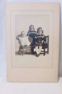 Antique Picture Photo 2 Girls And Baby Early 1900's Doris,Dora,Hugh Reney