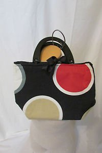 Canvas Purse Hand Bag Bold Colors Circles Bow Tie Closure CUTE Preppy