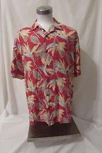 Reyn Spooner Shirt Men's Large Hawaiian Flower Print Coconut Button Shirt