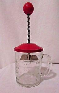 Vintage Hazel Atlas Chopper 1 Cup Clear Glass Measuring  Red Lid Retro Kitchen