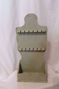 Vintage Painted Spoon Rack Mail Holder Wood Distressed Green Shabby Chic 12 Slot