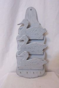 Vintage 3 Ducks Wood Key Letter Mail Holder 4 Hooks Wall Hanging Hand Painted