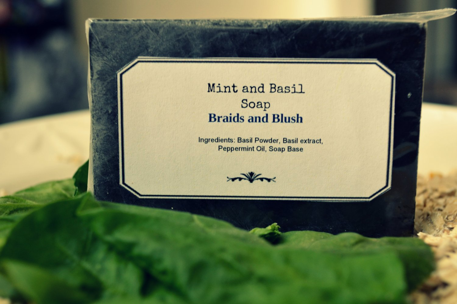 Refreshing Antibacterial Mint and Basil Soap/Refreshing/Healing/Natural/AntiBacterial/Soothing