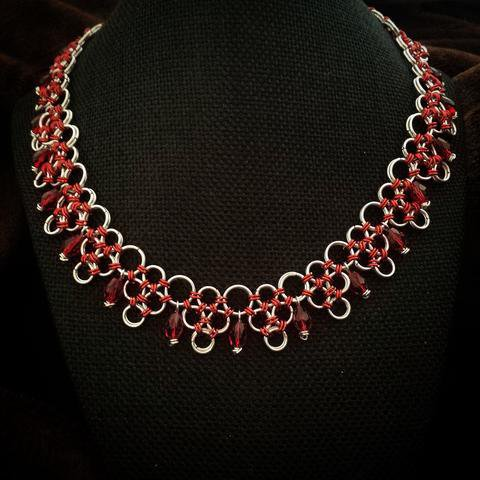 Handmade Chainmaille Designer statement  Necklace Sparkling Red