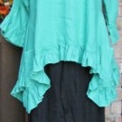 Sassy Rags Turquoise Linen 3/4 sleeve Plus Size Top