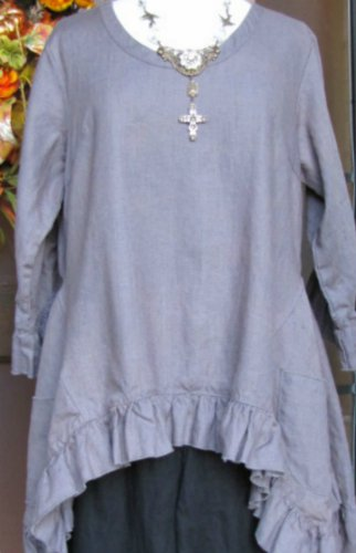 Sassy Rags Grey Linen 3/4 sleeve Plus Size Top