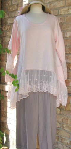 Sassy Rags Light Pink 100% linen ruffle top with mesh lace
