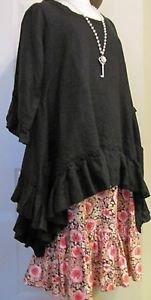 Sassy Rags Ladies Large 100% black linen ruffle bottom top