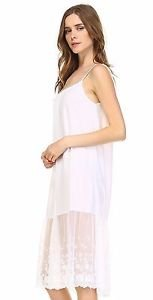 Ladies long ivory cotton and lace layering slip