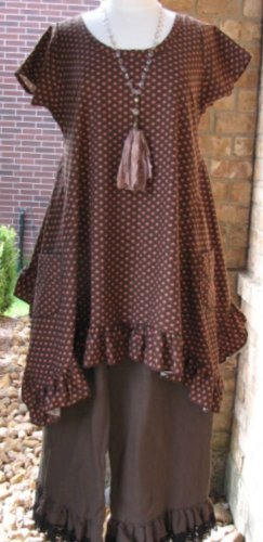 Ladies Sleeveless Brown and Orange cotton Tunic Dress-SALE