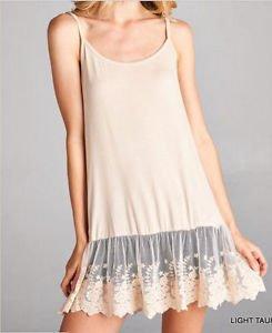 Ladies Jodifl brand light taupe nylon and spandex lace layering extender slip