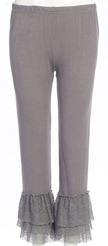 Sassy Bling long grey leggings with lace bottom