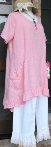 Classy Sassy Couture brand Ladies 100% pink linen short sleeve ruffle dress