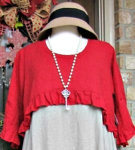 Classy Sassy Couture Ladies casual red 100% linen over shrug topper