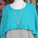 Sassy Rags by Classy Sassy Ladies casual turquoise 100% linen over shrug topper