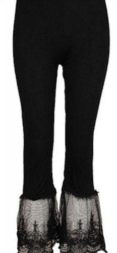 Sassy Bling capri length black leggings with lace bottom