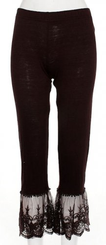 Sassy Bling capri length chocolate brown leggings with lace bottom