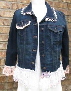 Ladies Large denim embellished jean jacket-Final Sale