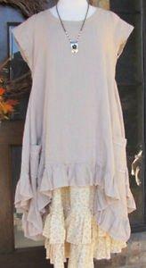 Ladies Cap Sleeve Beige 100% Linen Tank Ruffle Dress