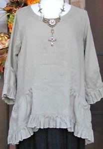 Sassy Rags Ladies XS-XXL green linen 3/4 sleeve LuLu ruffle top