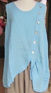 Ladies sleeveless pale blue linen Match Point brand button top