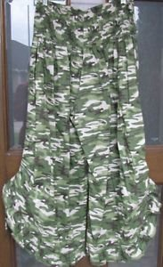Indian Tropical Cotton One Size Green Camo Dance Pants