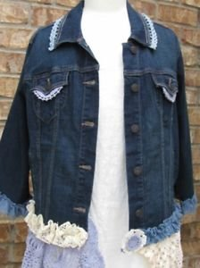 Ladies XLarge denim embellished jean jacket-Final Sale Item
