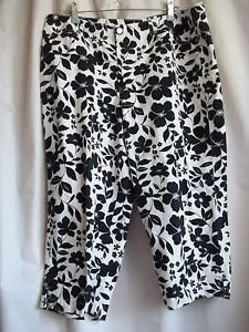 First Issue Liz Claiborne Capri Pants White and Black Size 16 100% Cotton