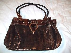 Fashion Woman's Handbag MC Brown Large Shoulder faux Croc