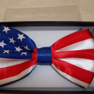 """Patriotic Bow Tie American Flag Red White And Blue Hook & Clip  3""""x5"""" USA"""