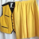 Woman's Skirt Set with Vest Yellow Rejoice Size 20 Lined  Zipper Back USA Vtg