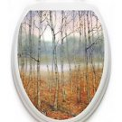 Toilet  Tattoos Foggy Forest  Vinyl Lid Cover Decor Reusable Decoration