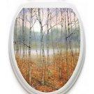 Toilet  Tattoos Foggy Forest  Vinyl Lid Cover Decor Reusable Decoration