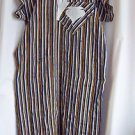 Robe  Tunic Long Green White Black and Gold Stripes Applique Medium