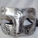 Eye Mask Men's Burnished Antique Silver  Venetian Mardi Gras Masquerade Party