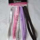Head Wrap  Headbands Set of Five Glitter Black Purple 2 White Pink Women